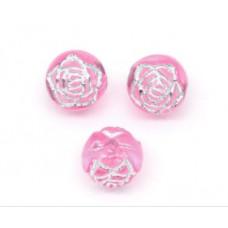 Бусины пластиковые Цветы розовые 8 мм