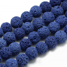Бусины каменные лава темно-синие 8 мм