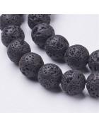 Бусины каменные лава черные 8 мм