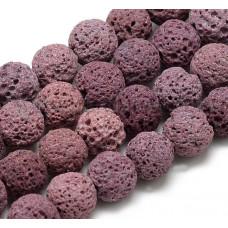 Бусины каменные лава темно-розовые 8 мм