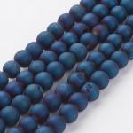 Бусины каменные агат гальванизированный с друзой синие 8 мм