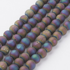 Бусины каменные агат гальванизированный с друзой радужные 8 мм