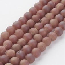 Бусины каменные агат гальванизированный с друзой светло-коричневые 8 мм