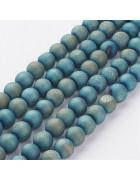 Бусины каменные агат гальванизированный с друзой голубые 8 мм