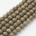 Бусины каменные агат гальванизированный с друзой светло-золотистые 8 мм