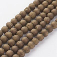 Бусины каменные агат гальванизированный с друзой темно-золотистые 8 мм