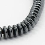 Бусины каменные гематит Рондели темно-серые 6.5*2 мм