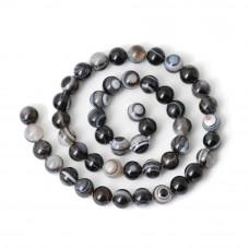 Бусины каменные агат полосатые черные 6 мм