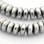Бусины каменные гематит Рондели серебристые 6.5*2 мм