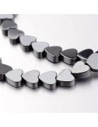 Бусины каменные гематит Сердечки темно-серые 6*6*2 мм
