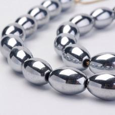 Бусины каменные гематит Оливки серебристые 8*12 мм