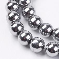 Бусины каменные гематит серебристые 8 мм