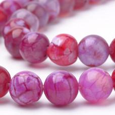 Бусины каменные агат вены дракона ярко-розовые 8 мм
