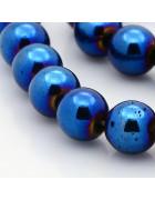 Бусины каменные гематит темно-синие 10 мм