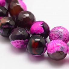 Бусины каменные агат граненые черно-розовые 10 мм