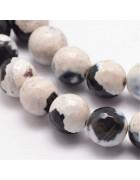 Бусины каменные агат граненые черно-белые 10 мм