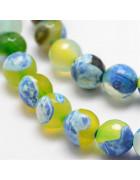 Бусины каменные агат граненые зелено-голубые 10 мм