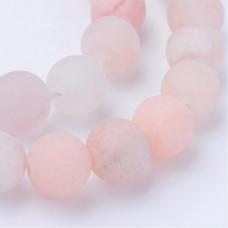 Бусины каменные авантюрин матовые молочно-розовые 10 мм