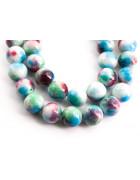 Бусины каменные нефрит (жадеит) голубые с бордо. 10 мм