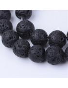 Бусины каменные лава черные 10 мм