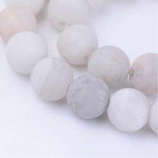 Бусины каменные агат матовые молочно-серые 10 мм