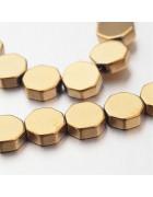 Бусины каменные гематит Восьмиугольник золотистые 6*2 мм