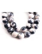 Бусины каменные нефрит (жадеит) белые с серым. 10 мм