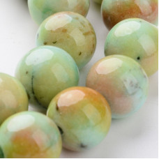 Бусины каменные нефрит (жадеит) зелено-желтые. 10 мм