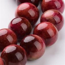 Бусины каменные нефрит (жадеит) бордовые. 10 мм