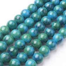 Бусины каменные нефрит (жадеит) зелено-голубые. 10 мм