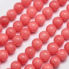 Бусины каменные нефрит (жадеит) коралловые. 10 мм