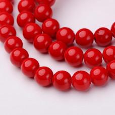 Бусины каменные нефрит (жадеит) красные. 6 мм