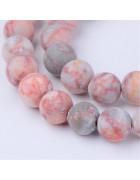 Бусины каменные яшма матовые серо-розовые 8 мм