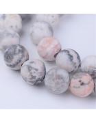 Бусины каменные яшма матовые бело-серые. 8 мм