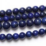 Бусины каменные лазурит темно-синие. 10 мм