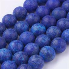Бусины каменные лазурит матовые темно-синие. 8 мм