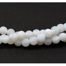 Бусины каменные агат кракле матовые белые. 6 мм