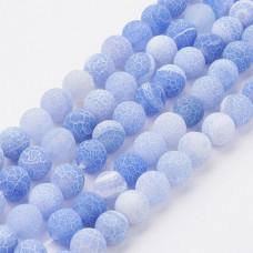 Бусины каменные агат кракле матовые синие. 6 мм