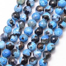 Бусины каменные агат черно-голубые граненые. 6 мм