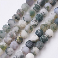 Бусины каменные агат матовые бело-зеленые. 8 мм