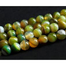 Бусины каменные агат зеленые с темно-желтым. 8 мм