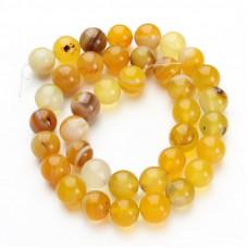 Бусины каменные агат полосатые желтые. 8 мм