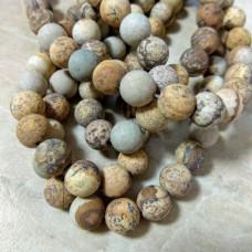 Бусины каменные яшма пейзажная матовые светло-коричневые. 8 мм