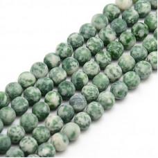 Бусины каменные яшма матовые бело-зеленые. 8 мм