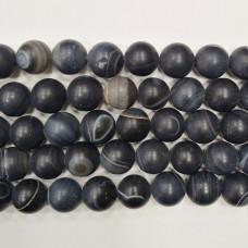 Бусины каменные агат полосатые матовые черно-белые. 8 мм