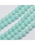 Бусины каменные нефрит (жадеит) светло-бирюзовые. 6 мм