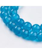 Бусины каменные нефрит (жадеит) темно-голубые. 8 мм