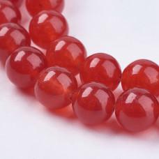 Бусины каменные нефрит (жадеит) темно-красные. 8 мм