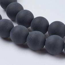 Бусины каменные агат матовые черные. 8 мм