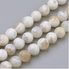 Бусины каменные агат прозрачно-белые. 8 мм